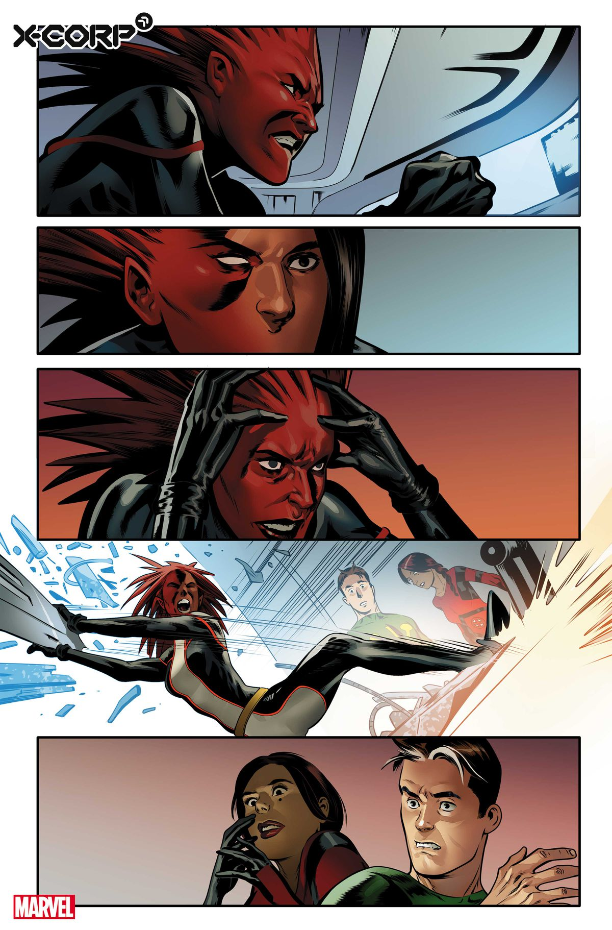 Monet St. Croix wrecks a computer in front of Trinary and Multiple Man in preview art for X-Corp #1 , Marvel Comics (2021)