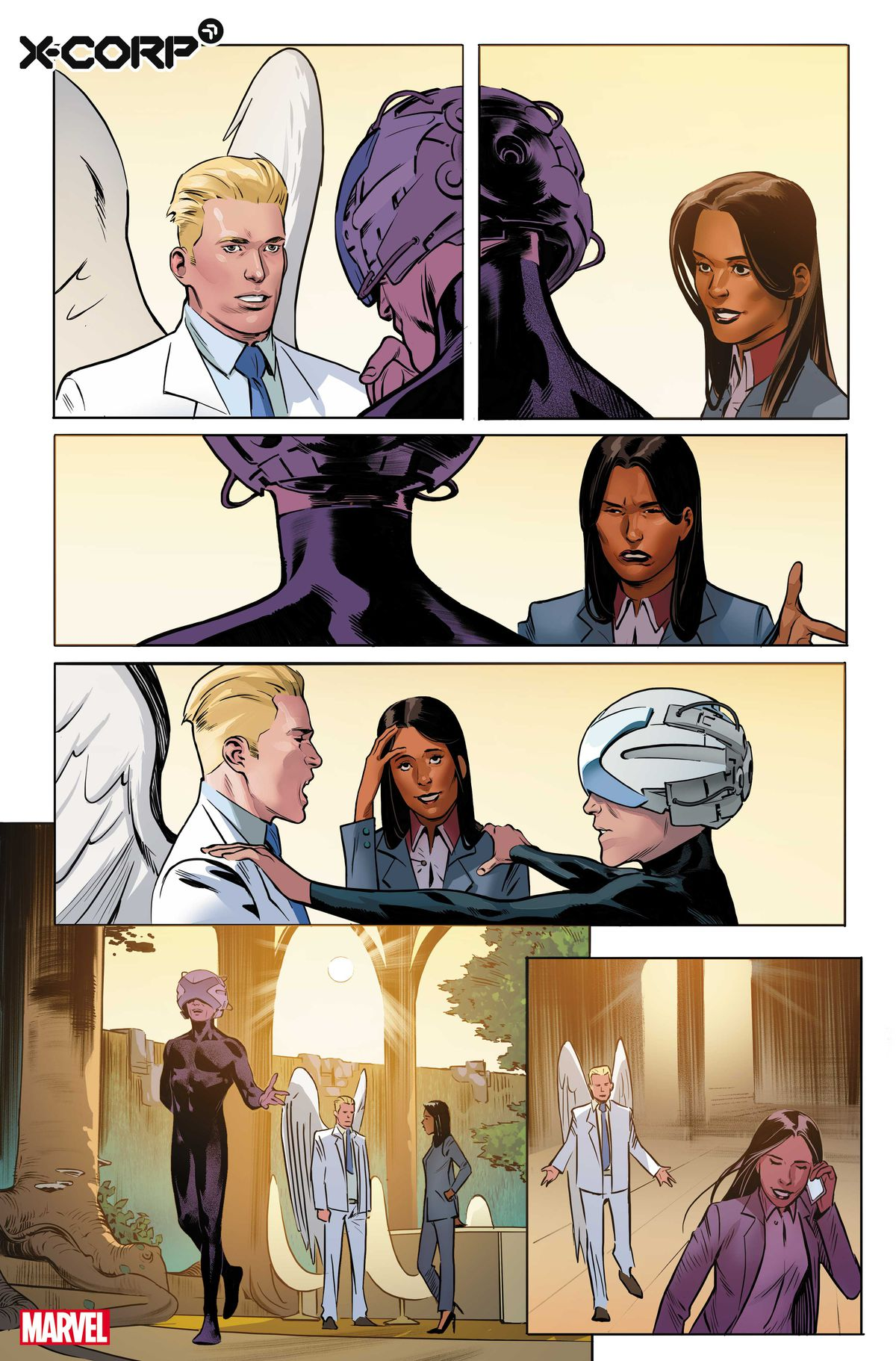 Angel, Monet St. Croix, and Charles Xavier talk to one another in preview art for X-Corp #1, Marvel Comics (2021)