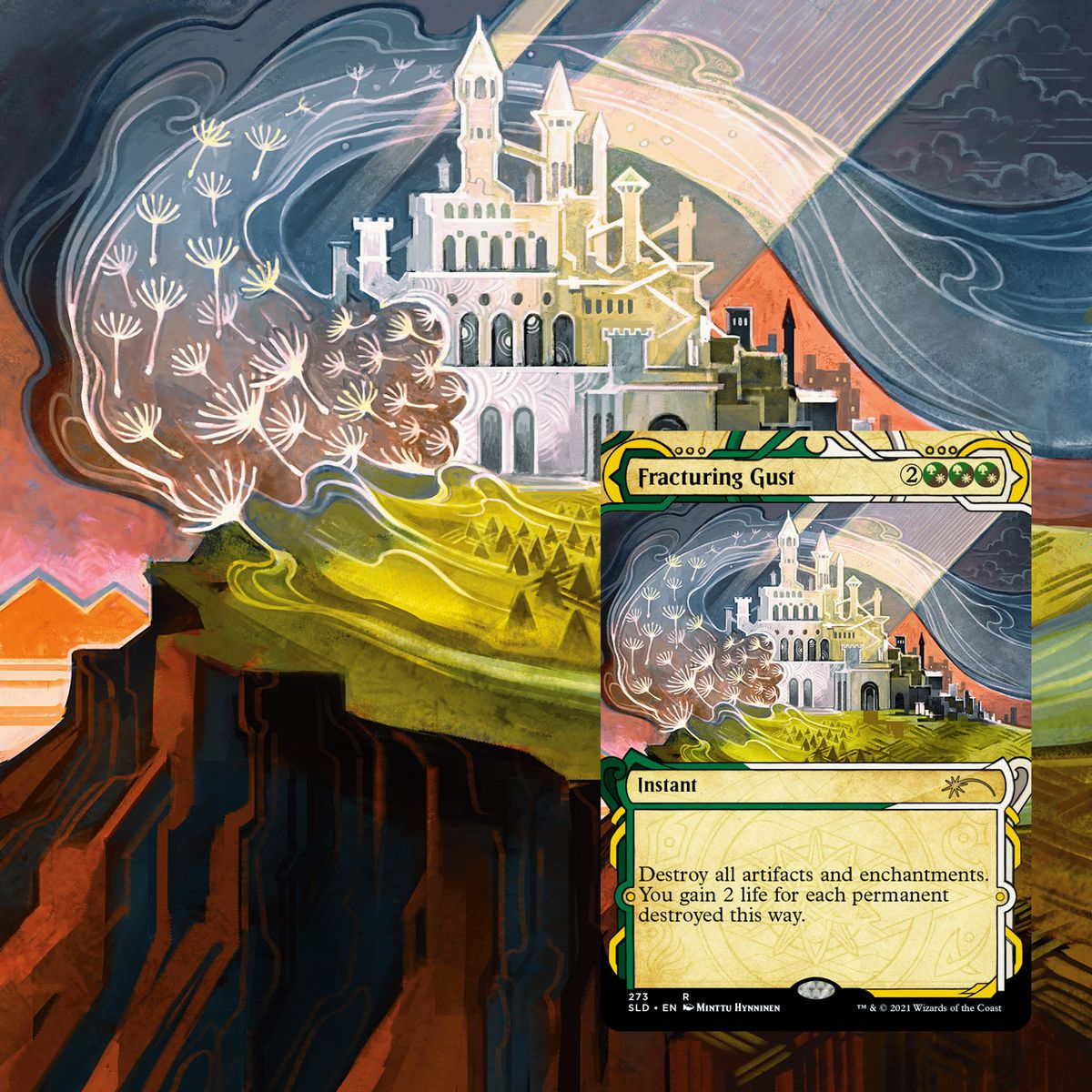 Fracturing Gust shows a castle on a hill, split by rays of sunlight. Buds float on the wind.