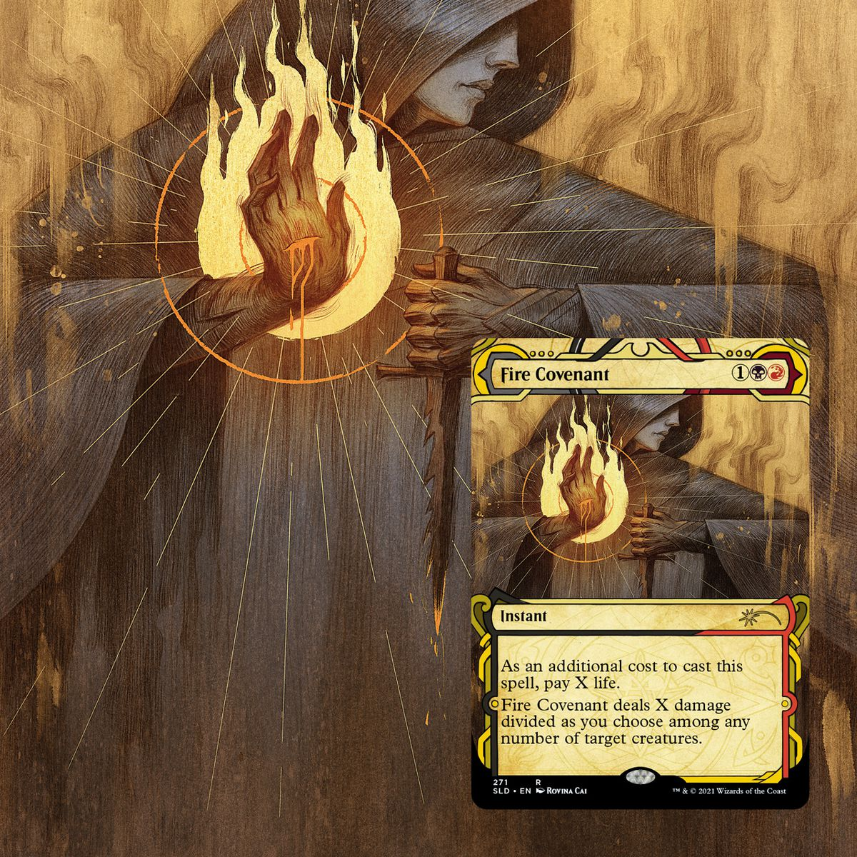 Fire Covenant, showing a woman holding a dagger casting a fire spell with her off hand. There is a cut on her palm.