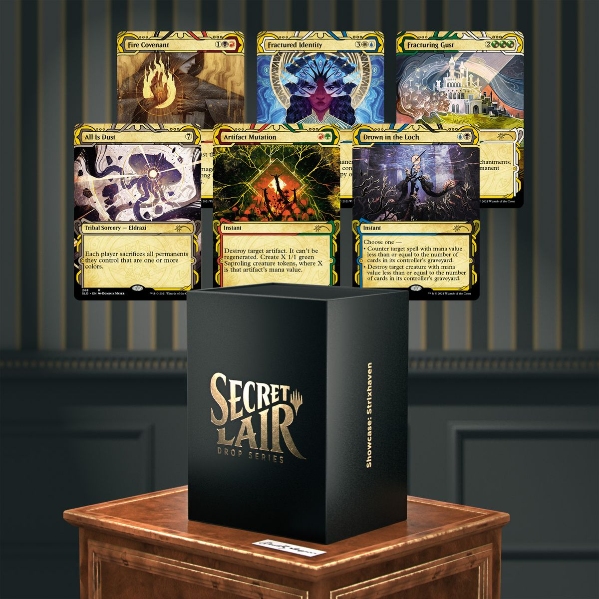 All six Strixhaven cards shown on a parlor wall, with a gilded Secret Lair box shown below.