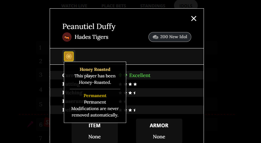 A screencap of Peanutiel Duffy's stat page, showing that they are Honey Roasted