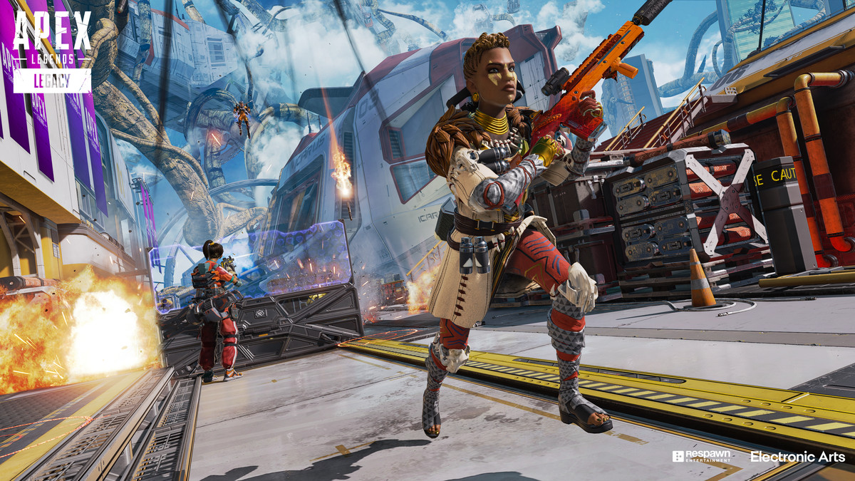 Bangalore from Apex Legends charges towards an enemy