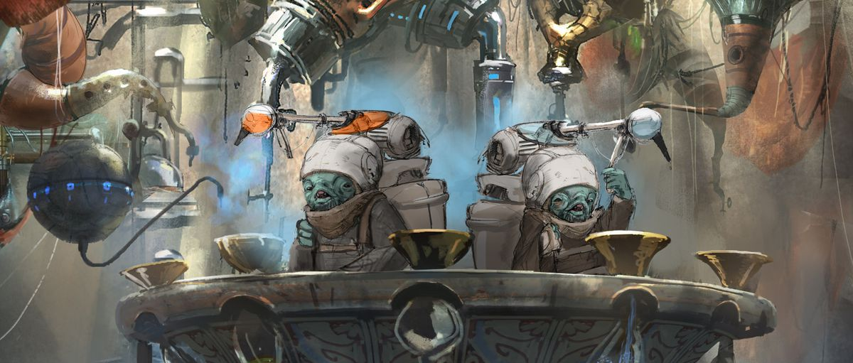 Two blue bartenders stand. Large packs on their back are connected to the arcane instruments above them.