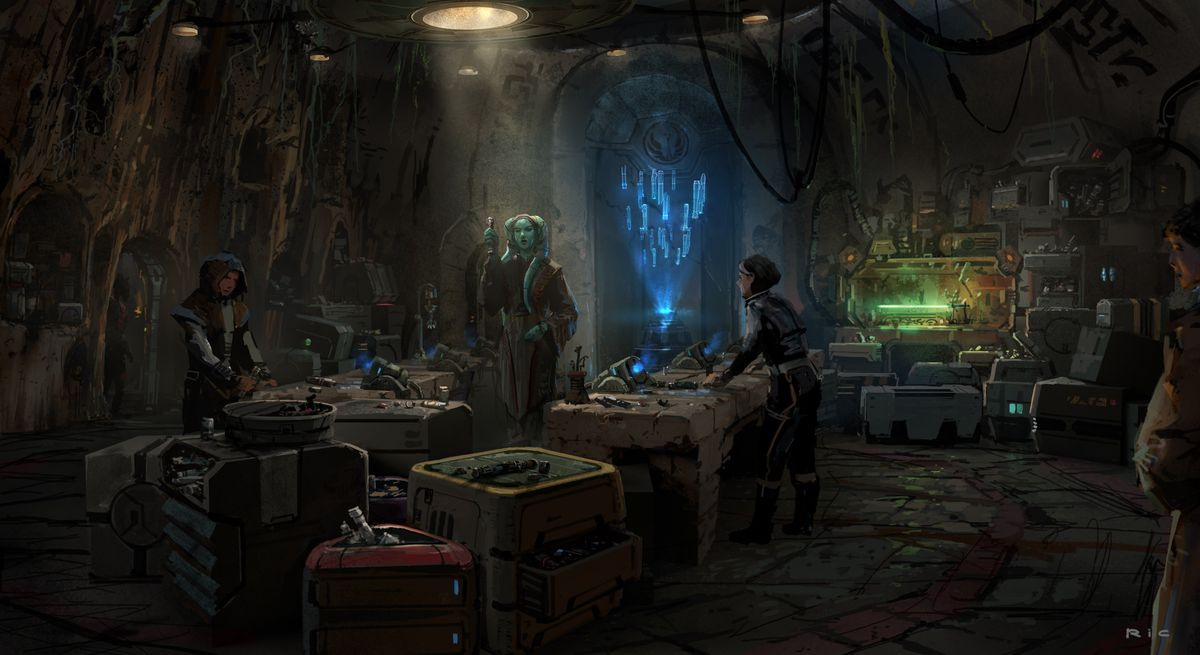Early concept art for Savi's workshop shows a lightsaber in the corner on a test bench, and a blue-tinged hologram floating in the air above a station.