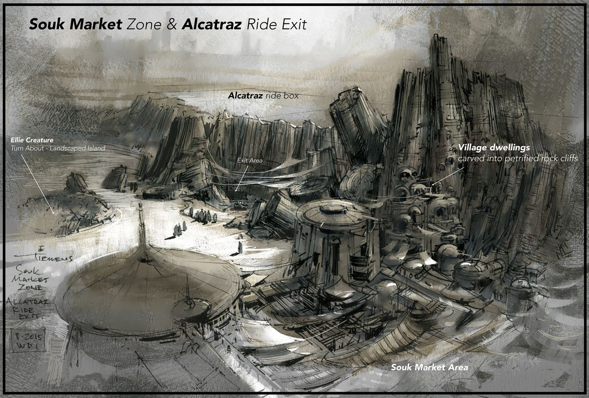 A sketch of the area outside the Rise of the Resistance ride as conceived by Erik Tiemens. It shows the lavish drapperies of the marketplace from above.