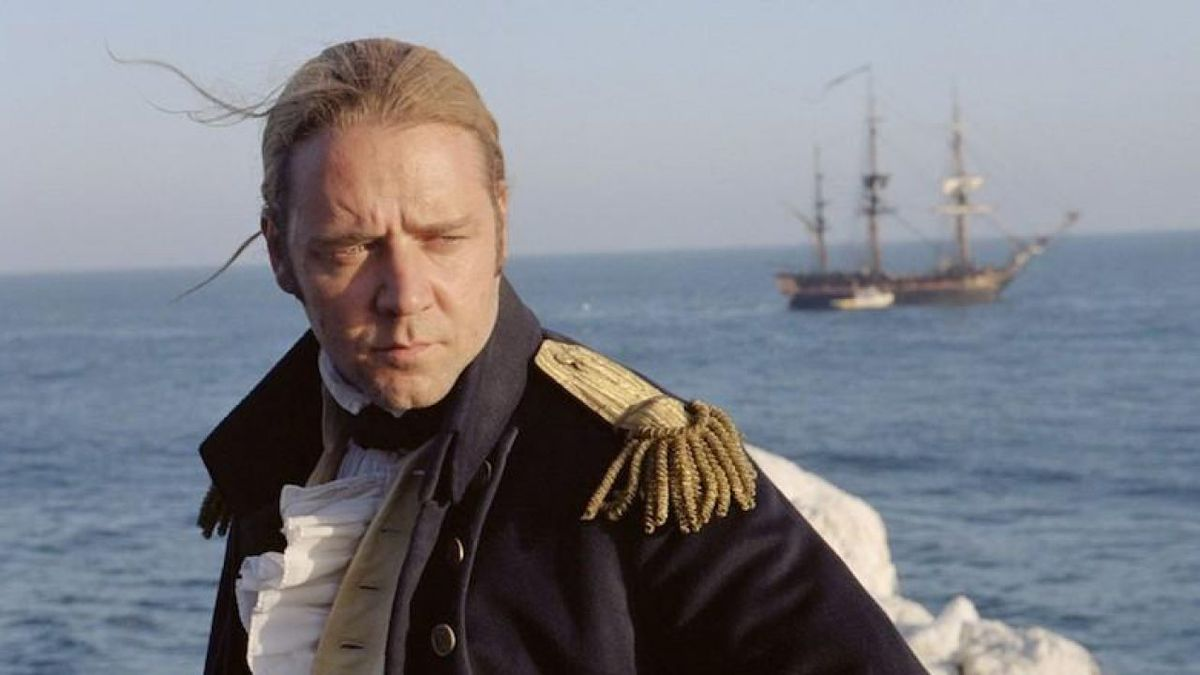 "Russel Crowe as Captain John ""Jack"" Aubrey in Master and Commander: The Far Side of the World."