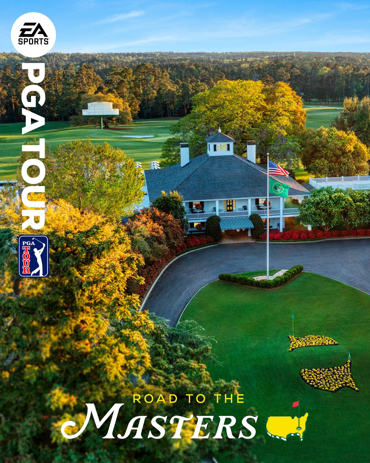 """the cover art for EA Sports PGA Tour, featuring an overhead photo of the clubhouse at Augusta National Golf Club and the words """"Road to the Masters"""""""