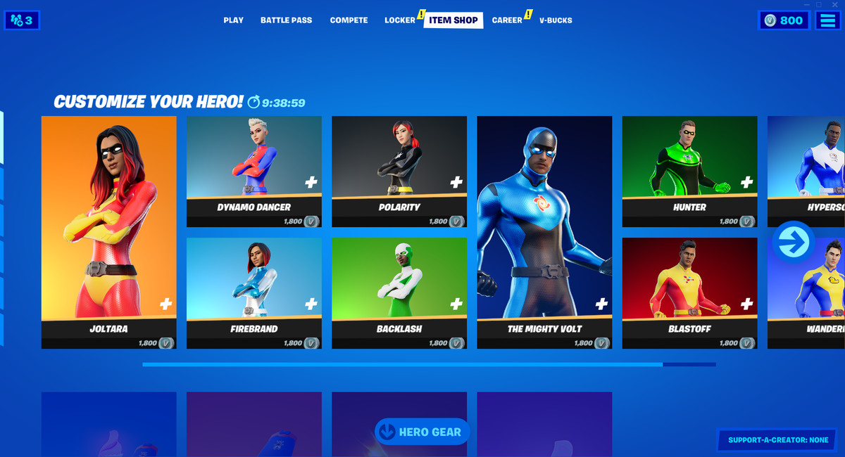 A screenshot of the Fortnite store with its superhero outfit options