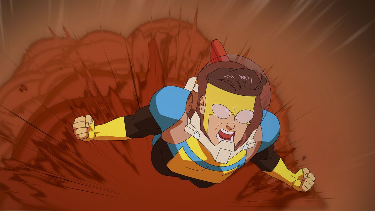 Mark Grayson as Invincible kicking up a cloud of dust as he races across the surface of Mars.