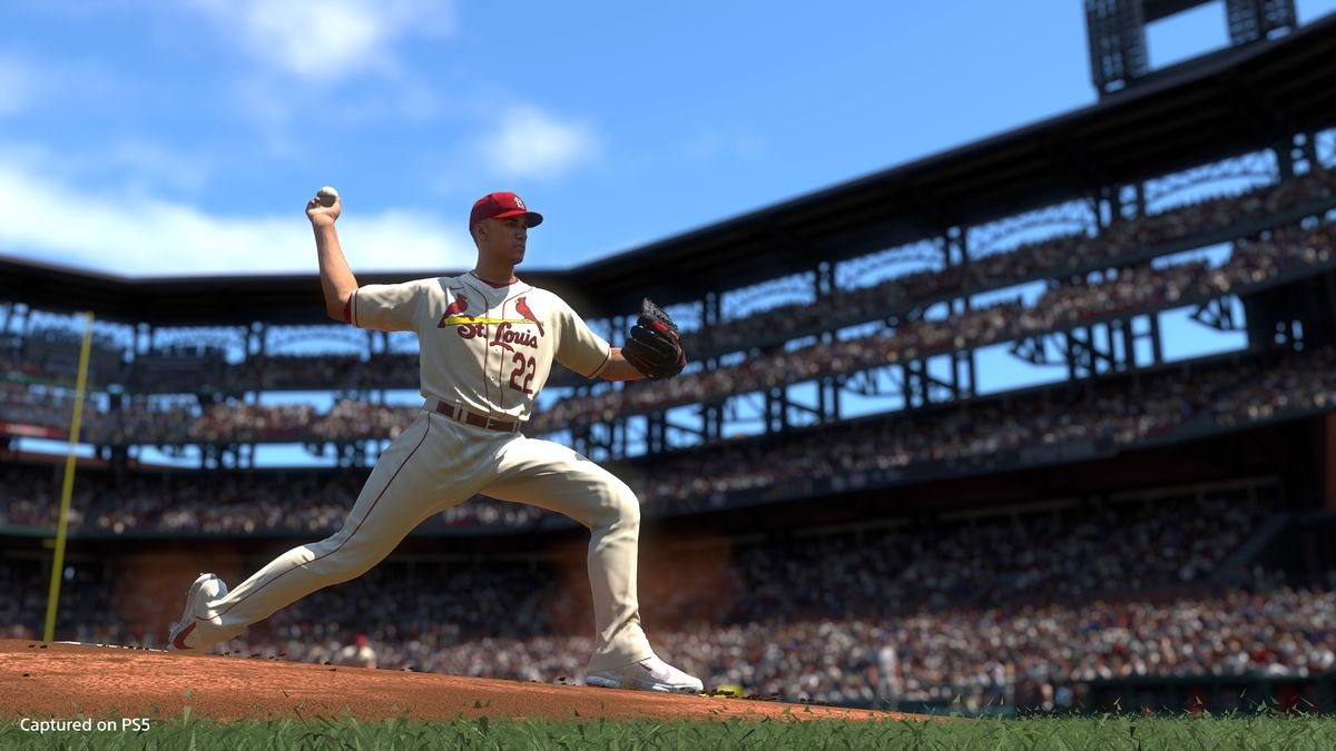 Jack Flaherty of the St. Louis Cardinals throws a pitch in MLB The Show 21