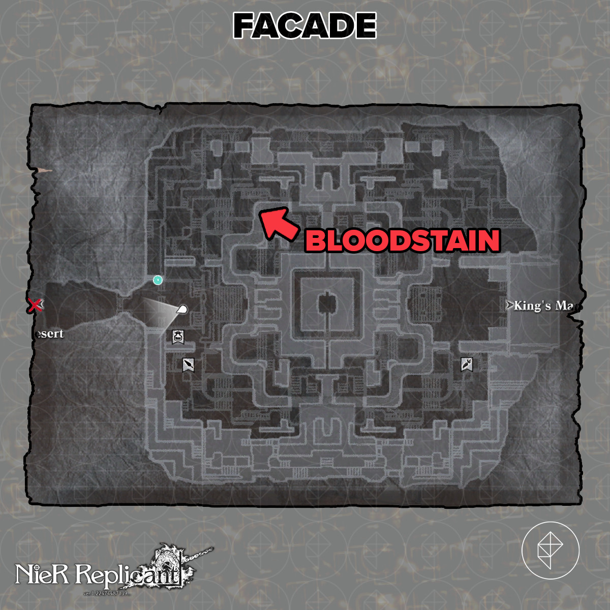 Nier Replicant Missing Girl Facade bloodstain location
