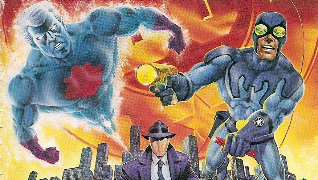 A 1986 promotional image publicizing the appearance of Charlton Comics characters in the DC Universe.