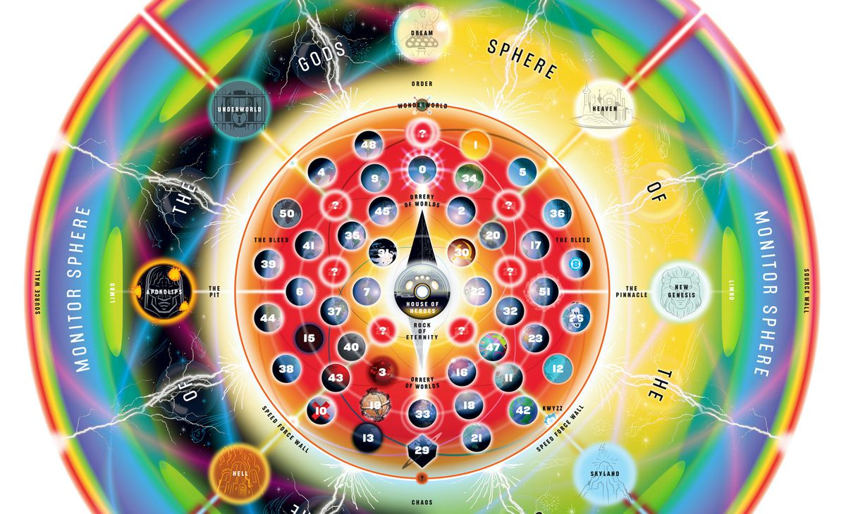 A crop of DC's map of its multiverse, released with the book Multiversity.