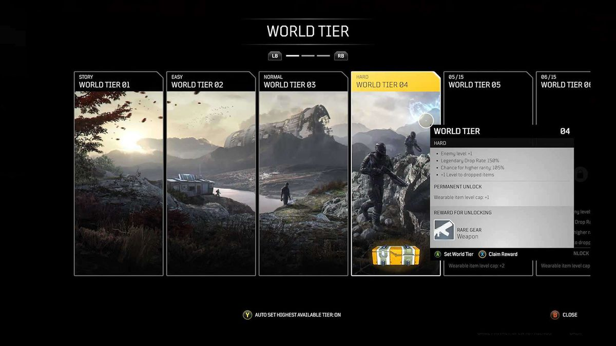 The World Tier system in Outrider