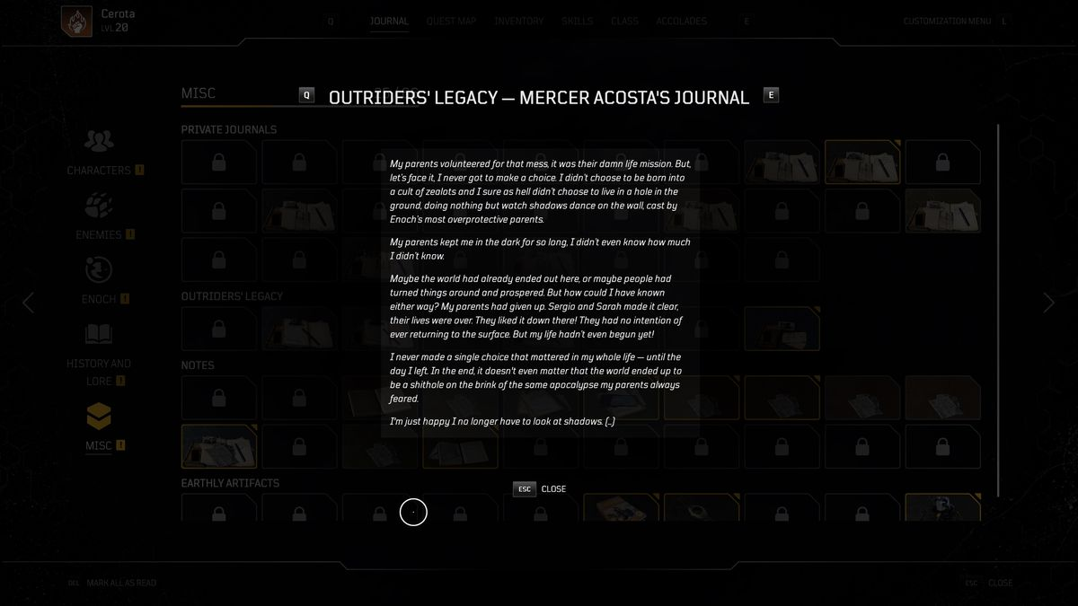 One of the journal entries in Outriders