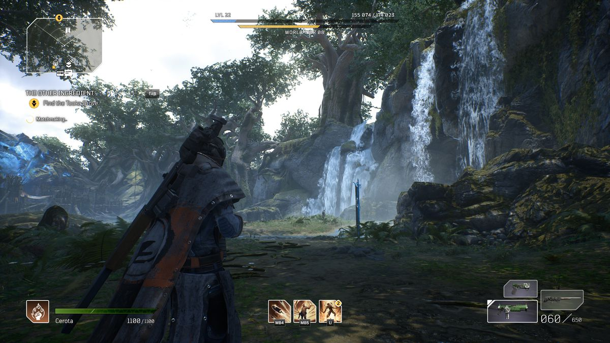 Outriders' protagonist comes across a waterfall