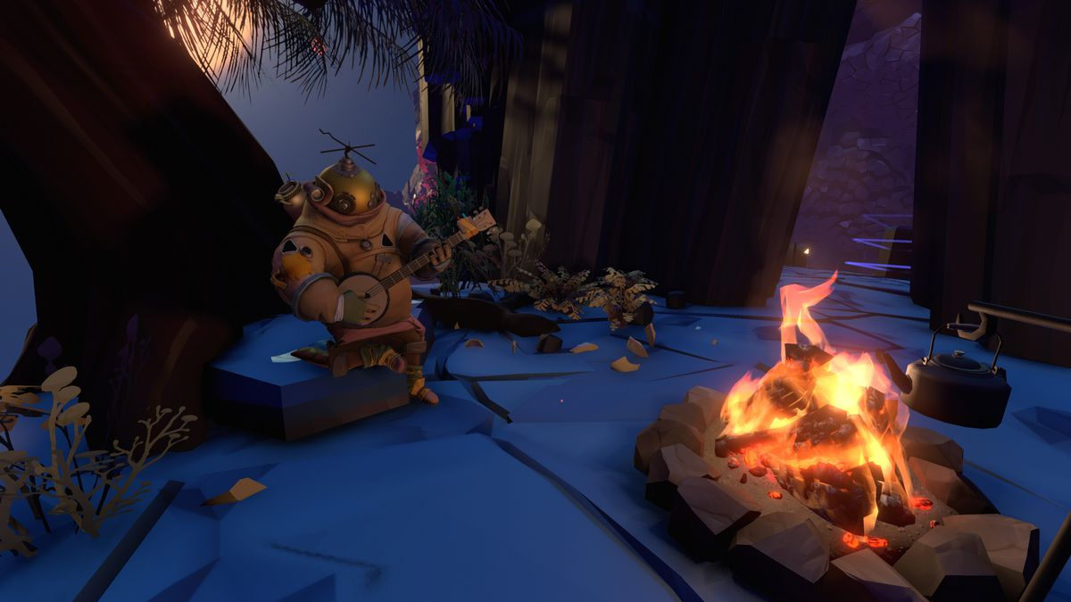 An astronaut sites next to a fire in Outer Wilds