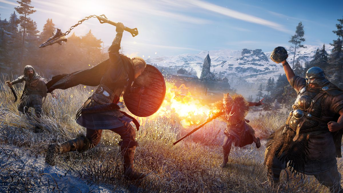 a female Eivor swings a weapon while fighting a group of enemies in Assassin's Creed Valhalla