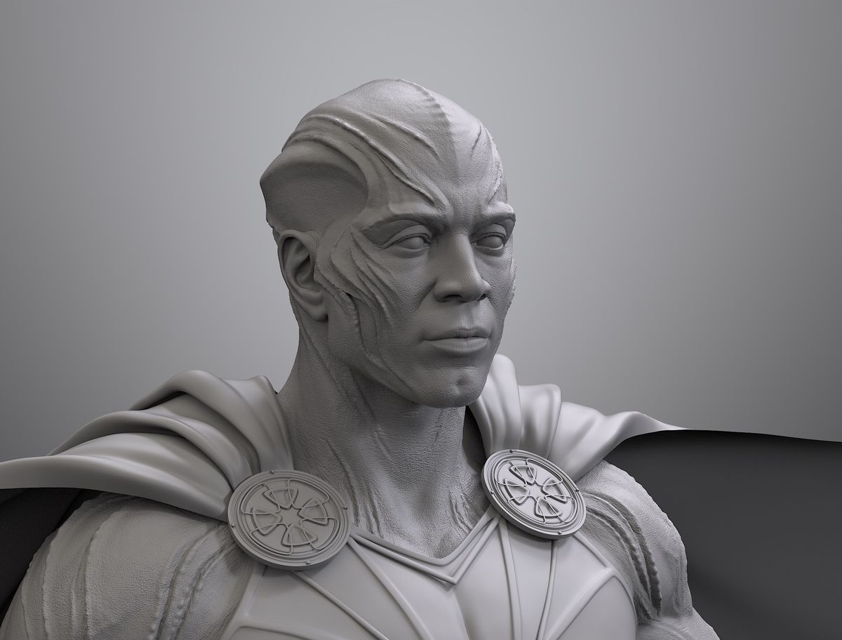 Martian Manhunter Justice League design third-turned black and white render