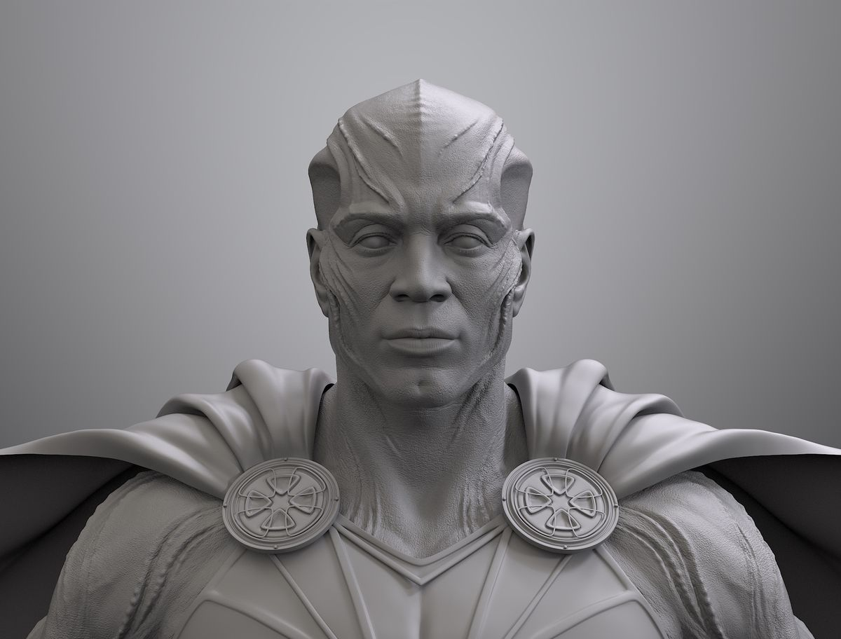 Martian Manhunter Justice League design front-facing black and white render