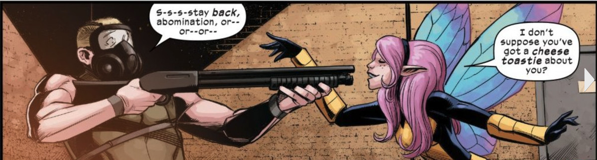 Pixie taunts a man with a shotgun in Way of X #1, Marvel Comics (2021)