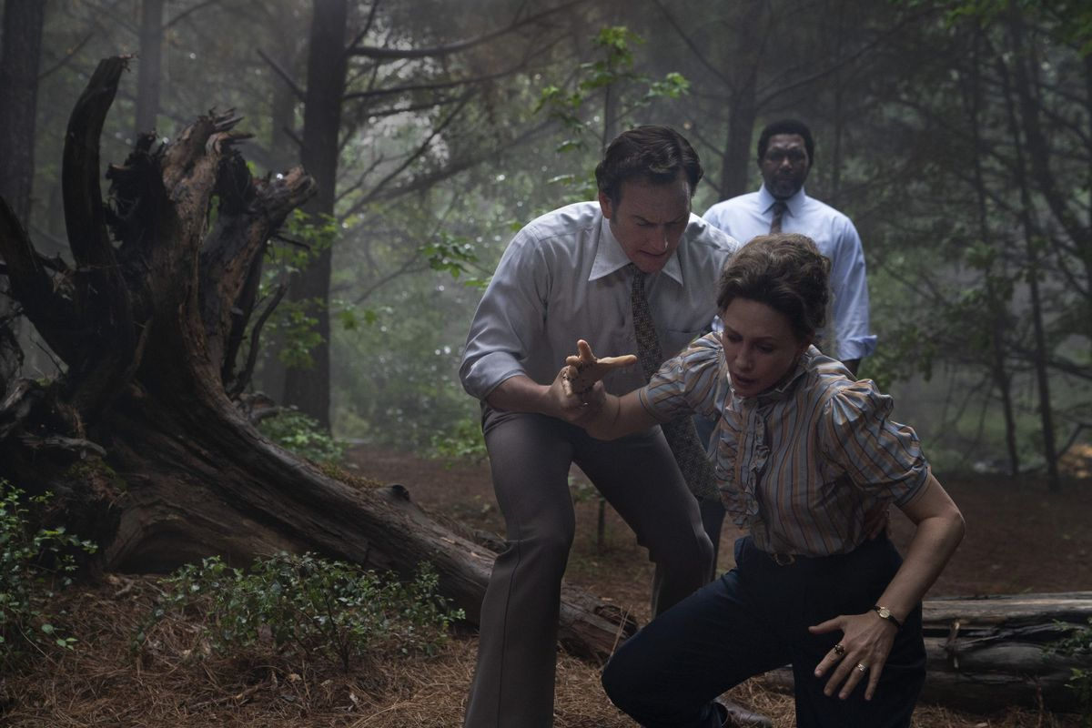 Patrick Wilson and Vera Farmiga as paranormal investigators Ed and Lorraine Warren in The Conjuring: The Devil Made Me Do It