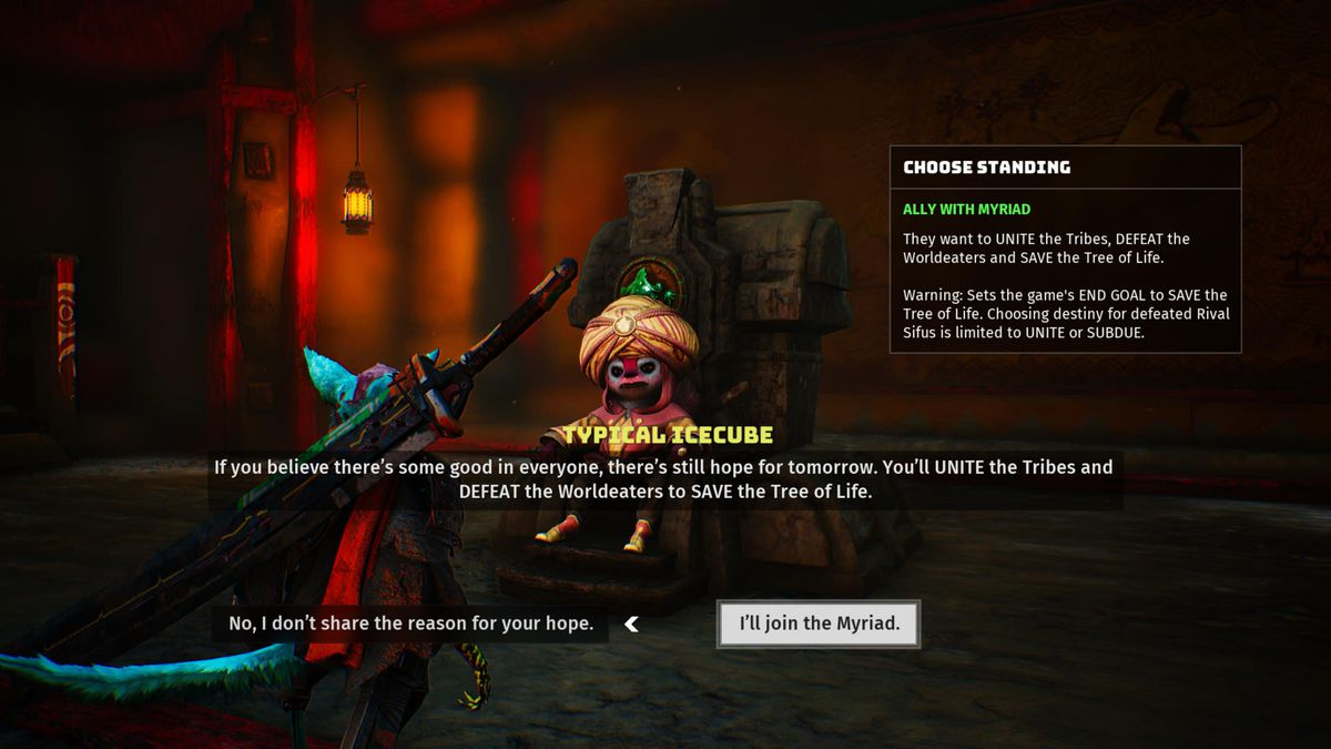 """in-game screen from Biomutant showing the player character, a rodent-looking anthropomorph, consulting with a """"sifu"""" or turban-wearing chieftain of the Myriad tribe"""