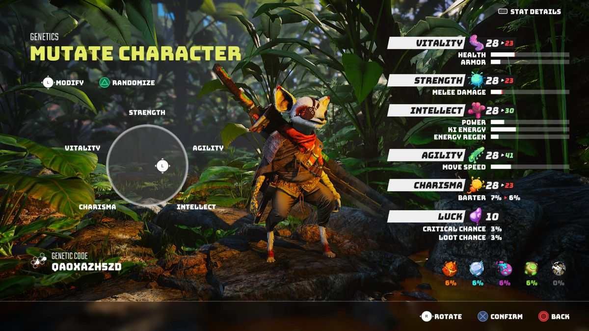 character creation screen in Biomutant showing the player character and their attributes, which can be changed by moving a reticle at left of the screen
