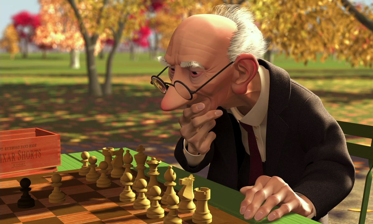 an old man playing chess