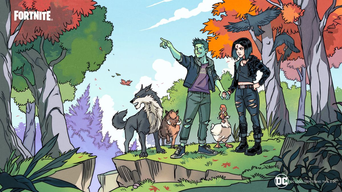 comic-book illustrated image showing Beast Boy and Raven holding hands in a picturesque natural setting, alongside a wolf, wild boar, and a duck.