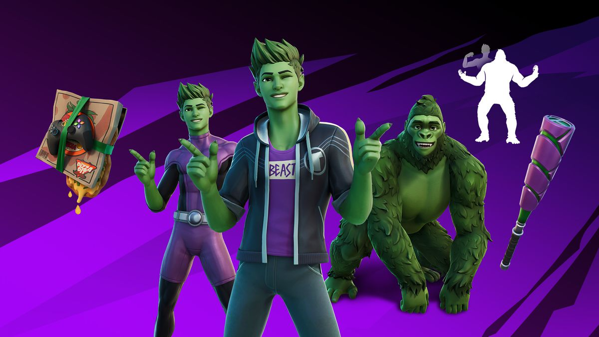 """promotional image showing Beast Boy's Fortnite Back Bling, two costumes, a """"bonk bat"""" pickaxe, and his ape form"""