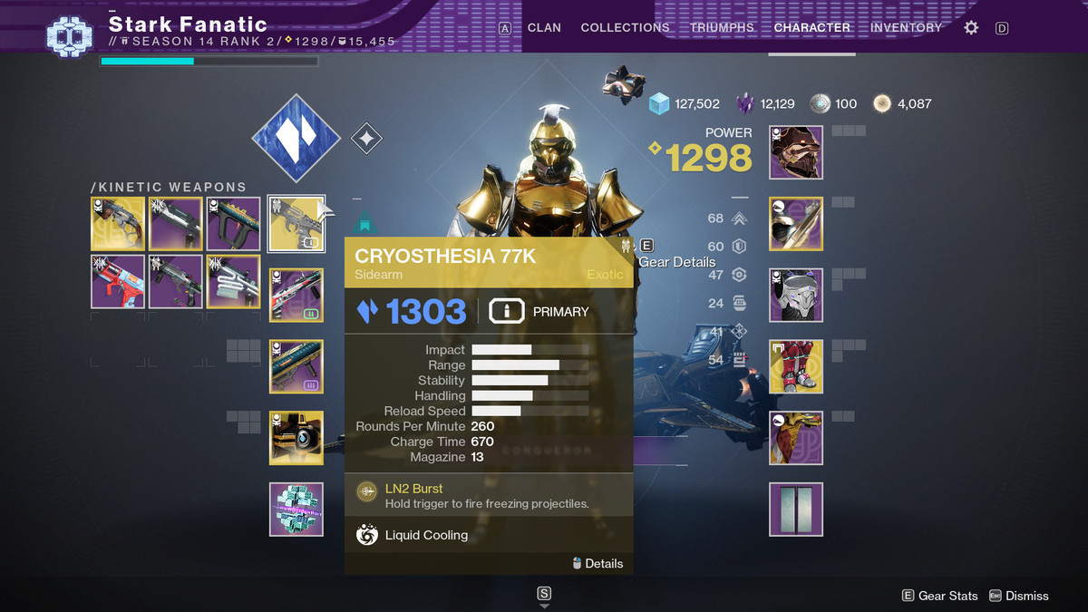 The weapon selection screen in Destiny 2