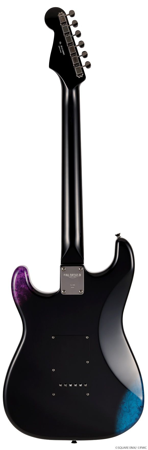A product shot of the Final Fantasy 14 Fender Stratocaster (back)