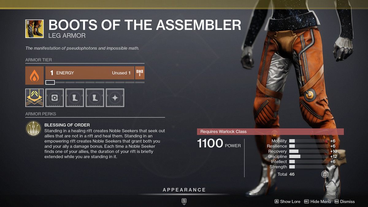 Destiny 2 Season of the Splicer Boots of the Assembler Exotic Warlock legs