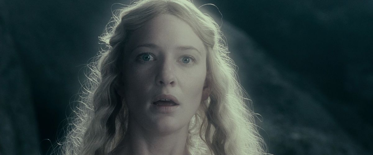 Galadriel looks shocked and breathless after her transformation in The Fellowship of the Ring.