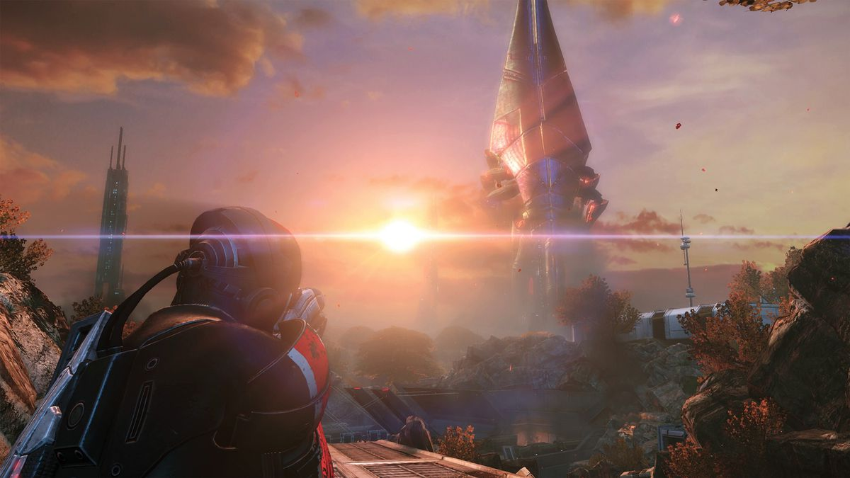 aiming at a Reaper ship in Mass Effect: Legendary Edition