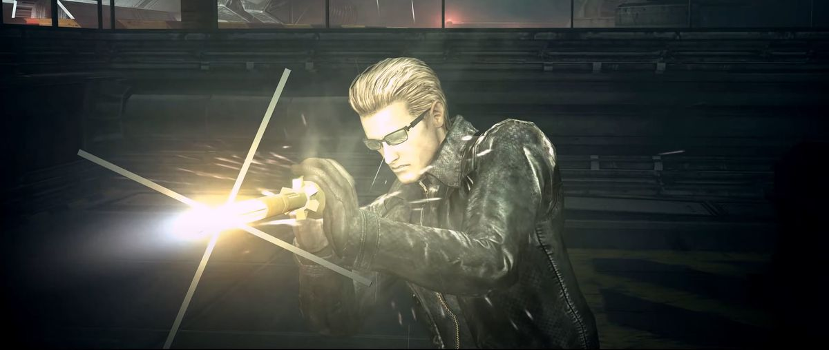 Wesker grabs an oncoming missile before it can strike him in Resident Evil 5