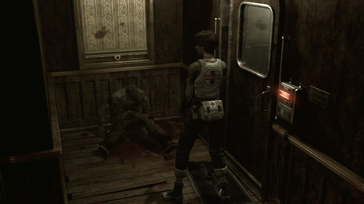 Rebecca Chambers looks upon a corpse in Resident Evil 0