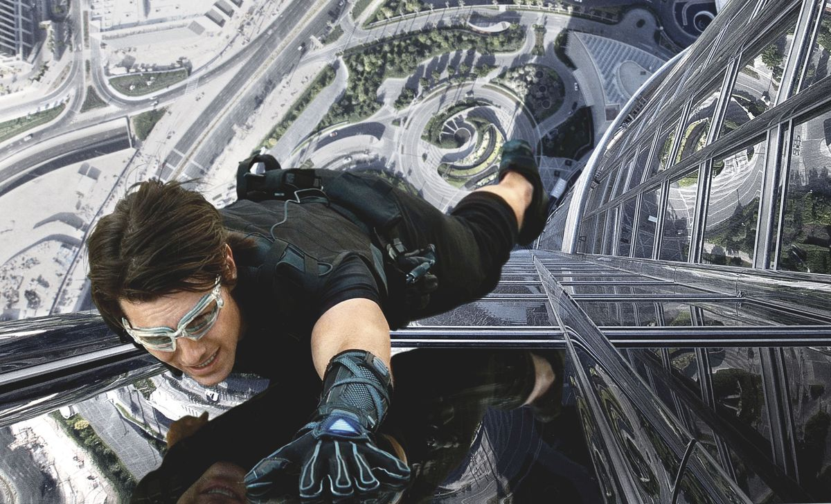 IMF super spy Ethan Hunt scales the side of a building in Dubai with magnetic gloves