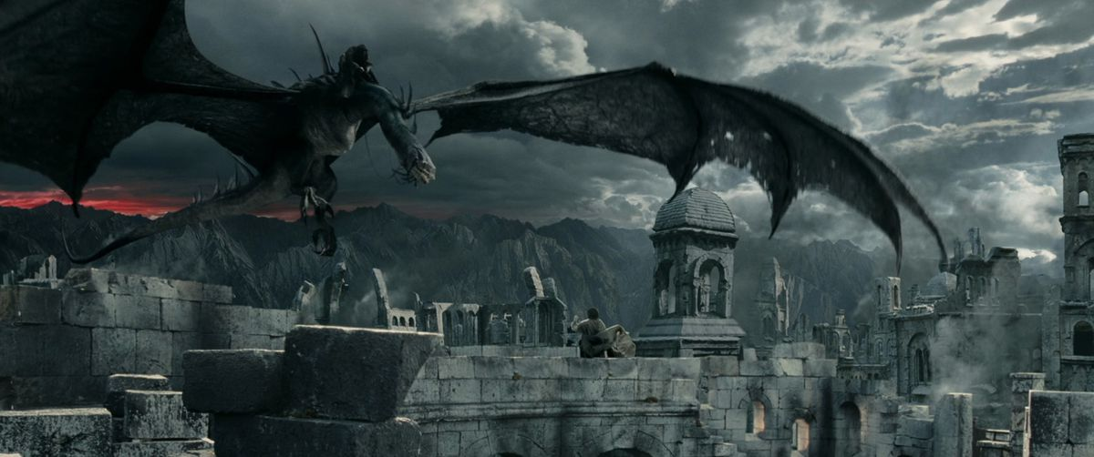 A Nazgul riding a monstrous and winged fel beast menaces Frodo in The Two Towers.