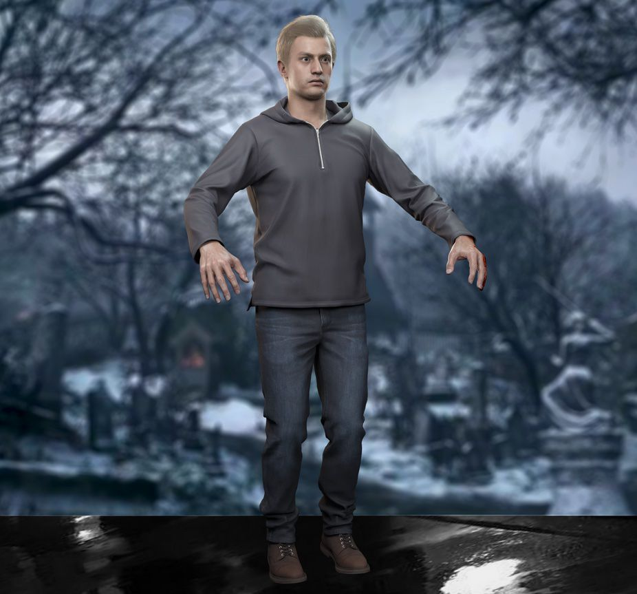 A model of Ethan Winters from Resident Evil Village