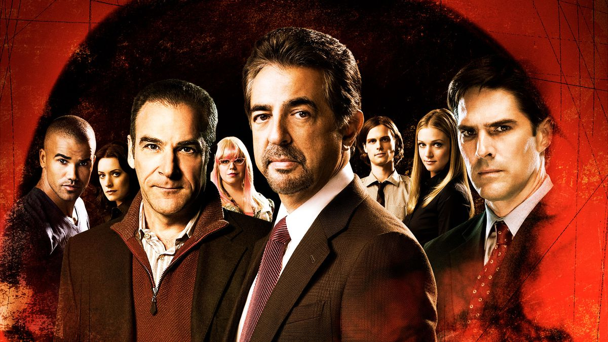 the cast of criminal minds moodily staring with some splashy red overlay