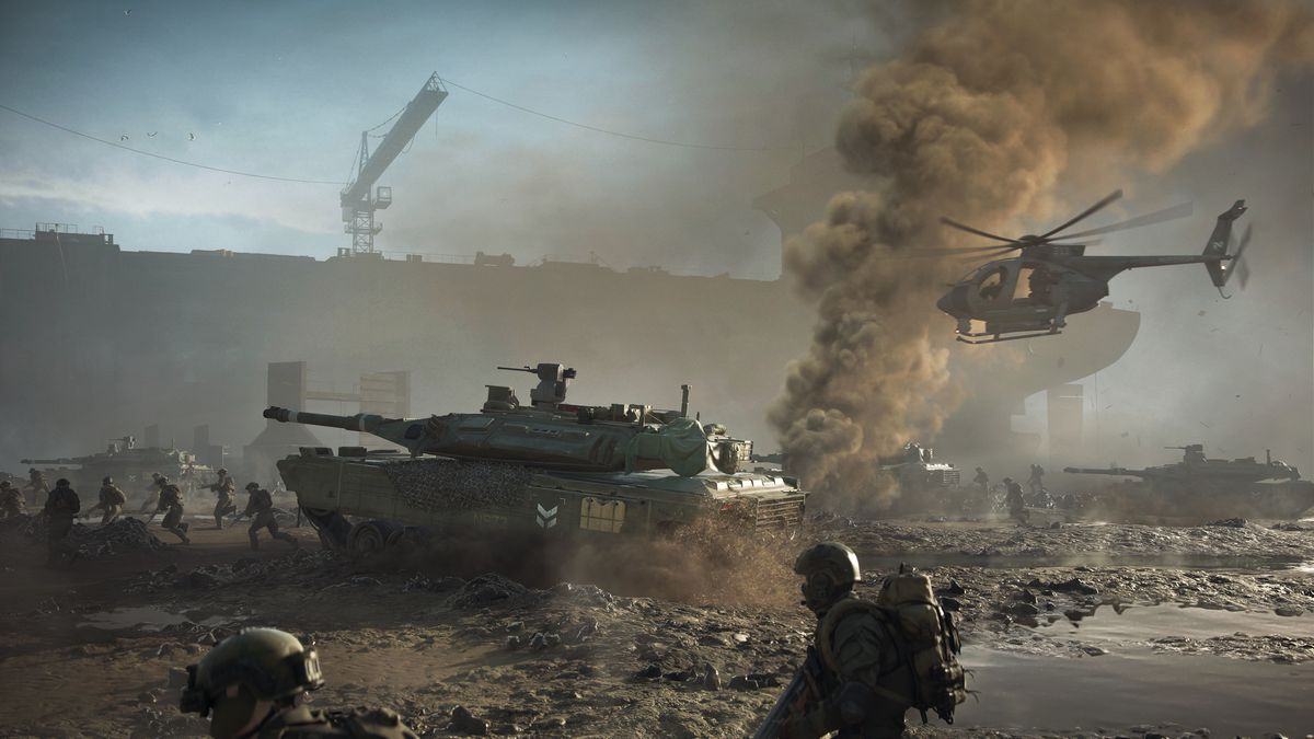 Soldiers and tanks roll across a shipyard in Alang, India, in Battlefield 2042's Discarded map