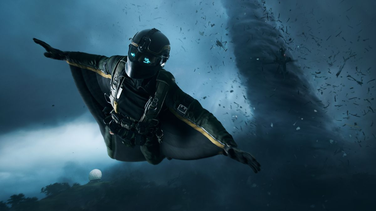 A soldier glides in a wing suit ahead of a tornado in Battlefield 2042