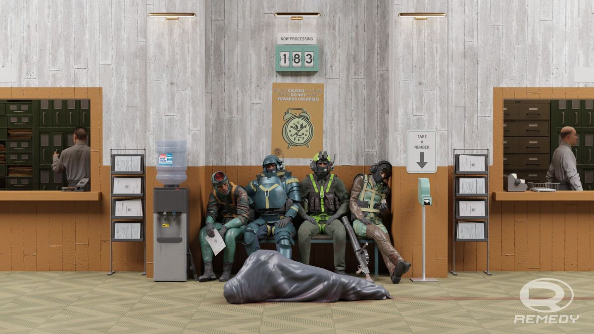 Three FBC workers and a body bag sit on a waiting bench in concept art for Condor, the Control multiplayer spinoff