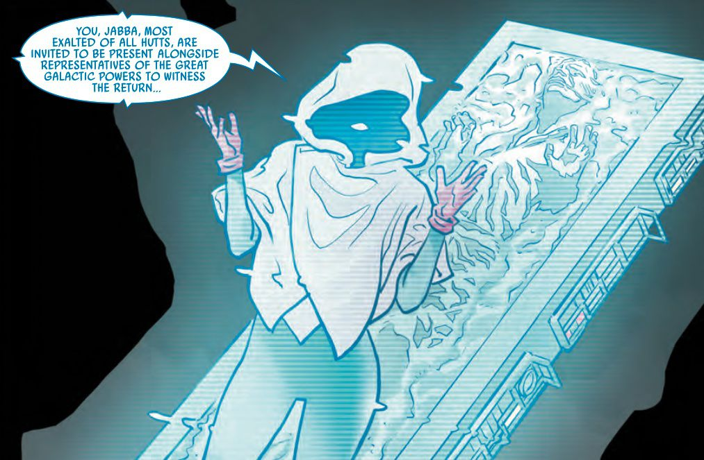 A hooded figure, standing in front of Han Solo's frozen-in-carbonite form, addresses Jabba the Hutt by hologram in Star Wars: War of the Bounty Hunters #1, (2021).