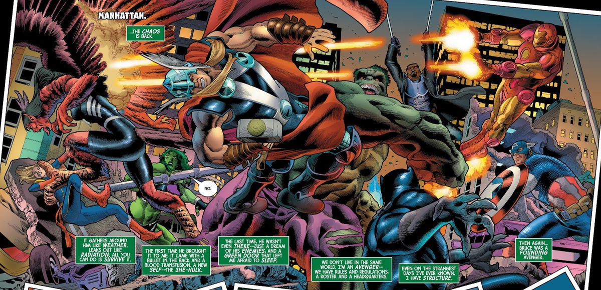 """The Avengers clash with Hulk and the Harpy in a chaotic double wide panel, as She-Hulk, nearly lost in the fray, says """"no,"""" in The Immortal Hulk #47, (2021)."""