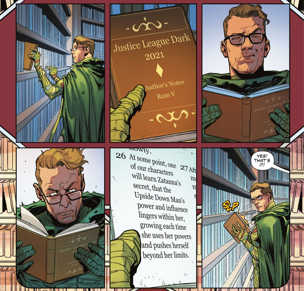 """Ragman picks up a book titled """"Justice League Dark 2021: Authors Notes"""" and opens it to find a paragraph describing Zatanna's dark secret. He slaps the book shut with a furtive glance at the reader in Justice League #62 (2021)."""