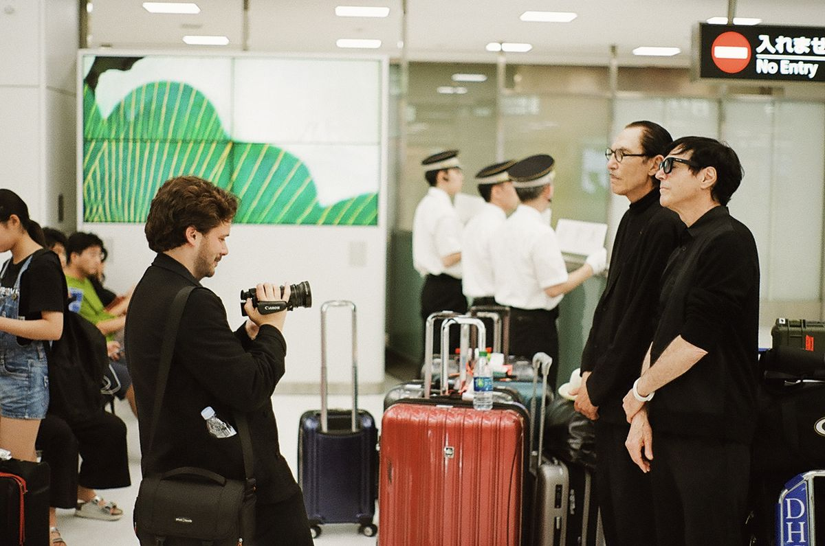 Edgar Wright films Ron and Russell Mael in an airport in The Sparks Brothers